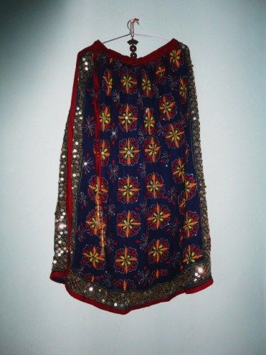 Girls Skirt Long Gypsy Style Hand Embroidered in Duke Blue Georgette - product image