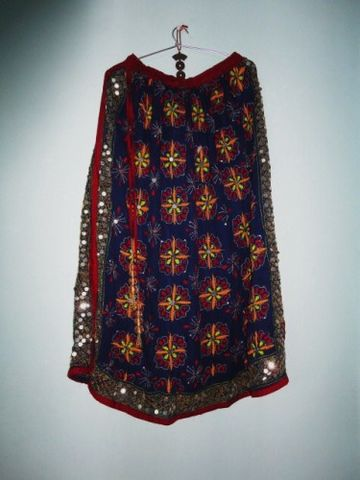 Girls,Skirt,Long,Gypsy,Style,Hand,Embroidered,in,Duke,Blue,Georgette,Girls skirt, skirt for women, long skirt, Indian gypsy skirt, hand embroidered skirt, boho gypsy skirt, banjara skirt, fabstolesnmore