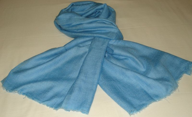 Pashmina stole in loose weave hand dyed to baby blue color - SOLD - product image