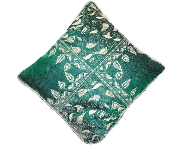 Kantha Embroidery Emerald Green Silk Throw Pillow Cover - SOLD - product image