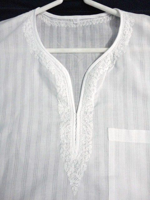 Ethnic White Short Cotton Kurta Shirt for Men with Chikankari Embroidery - product image