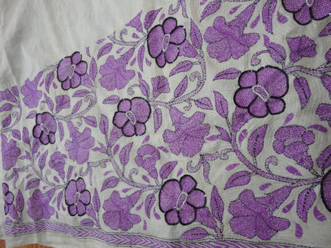 Petunia,Flowers,on,Tussar,Silk,Kantha,Saree, Kantha saree, Tussar Silk Saree, Hand embroidered Saree