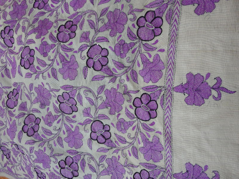 Petunia Flowers on Tussar Silk Kantha Saree - product image