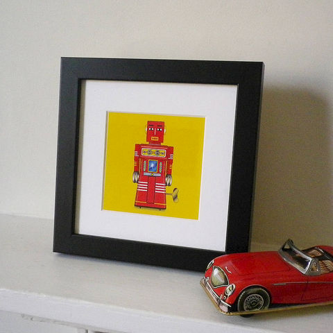 Miniature,Tin,Toy,Robot,Prints,Art,Print,Giclee,Tin_Toy,Pop_Art,Mini_Print,Boy's_Room,Primary_Colours,Red,Yellow,Blue,Birthday_Gift,Boy's_Gift,Man's_Gift,Stocking_Filler