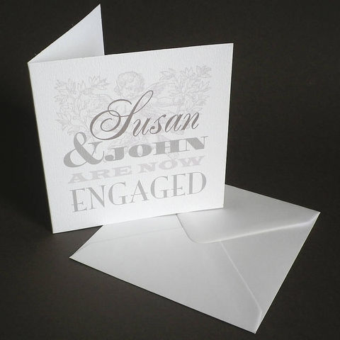 Personalised,The,Pigeon,Post,Stationery,Co.,Engagement,Card,Paper_Goods,Cards,Wedding,Engagement_Card,Announcement,Grey_and_white,Personalised_Cards,VIntage,Cherub,Cards_sent_direct,Romantic,Engraving,Typography