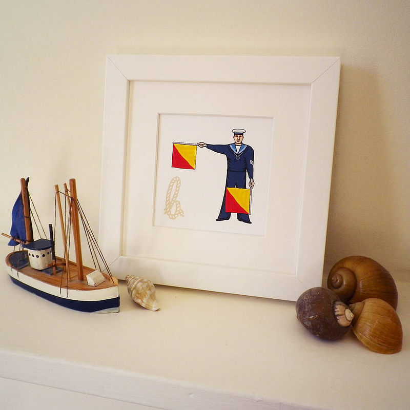 Naval Semaphore Flag Letter Print - product images  of