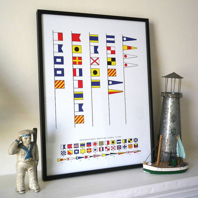 """Daddy is the Captain of our Ship"" message in naval signal flags print. Can also be personalised. - product images  of"