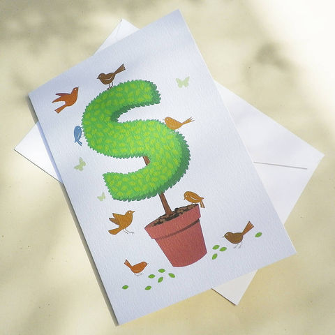 Topiary,Alphabet,Initial,Letter,Card,Paper_Goods,Cards,Birthday,Initial_Card,Gardener,Cottage_Garden,Anniversary,Keepsake,Garden,Country_Folk,Butterflies,Birds,Gardening