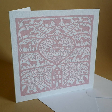 Heart,of,the,Home,Mum's,Card,Paper_Goods,Cards,Birthday,Mum,Mother,Mom,Mam,Nan,Mother's_Day,Folk_Art,Coral,Pink,Love