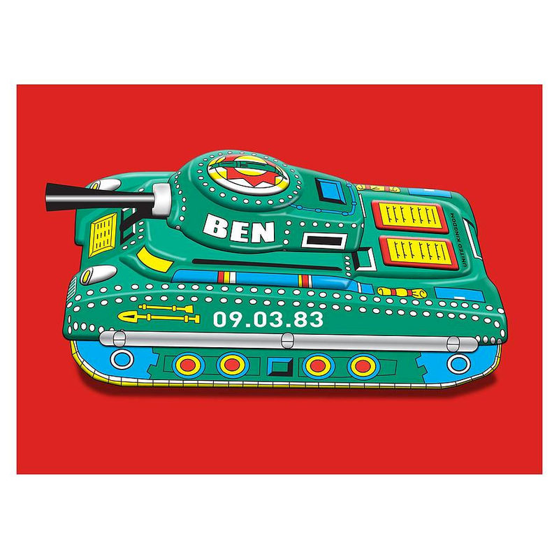 Personalised Name and Date Tin Toy Tank Canvas Print - product images  of