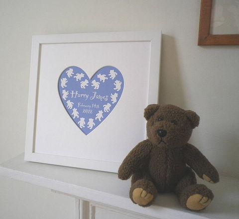 Personalised,New,Baby's,Name,Heart,Framed,Print,Art,Giclee,New_Baby,New_Born,Baby's_Name,Christening,Baptism,Naming_Day,Teddy,Bunny,White_Frame,Heart_Mount,Pink,Blue