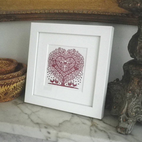 Miniature,Folk,Art,Prints,(Square),Print,Giclee,White_Frame,Folk_Art,Hearts,Housewarming,Birthday,Valentine,Gift_for_her,Dinner_Party_Gift,With_Love,Love_Token,Silhouette,Papercut