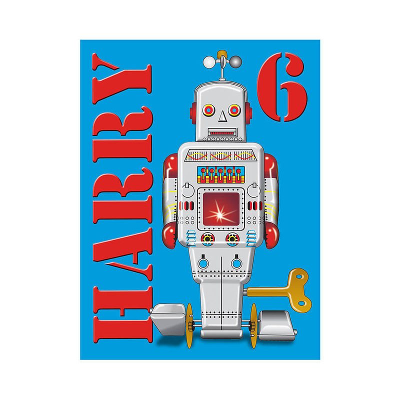 Personalised Name and Age Tin Toy Robot Canvas Print - product images  of