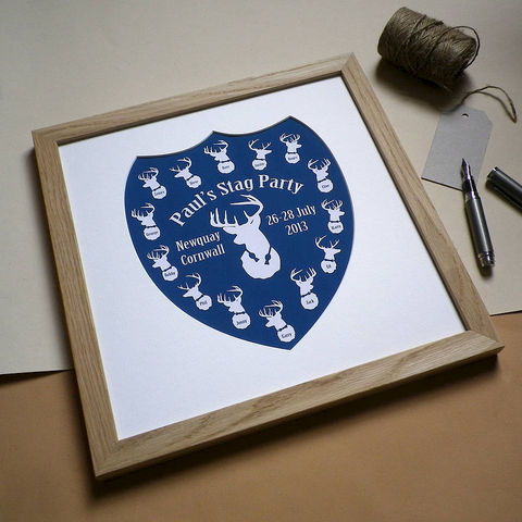 Personalised,Stag,Party,Print,Art,Giclee,Stag_Party,Stags,Shield,Wedding,Groom,Best_Man,Ushers,Wedding_Party