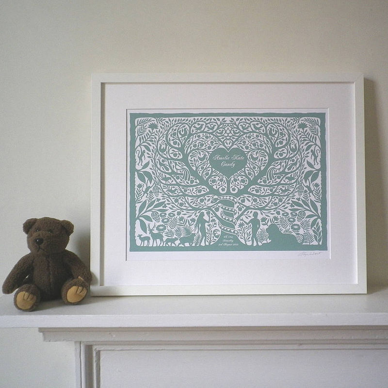 Personalised Adam & Eve Tree of Life Print for weddings, anniversaries, engagements, valentines, christenings  or new baby - product images  of