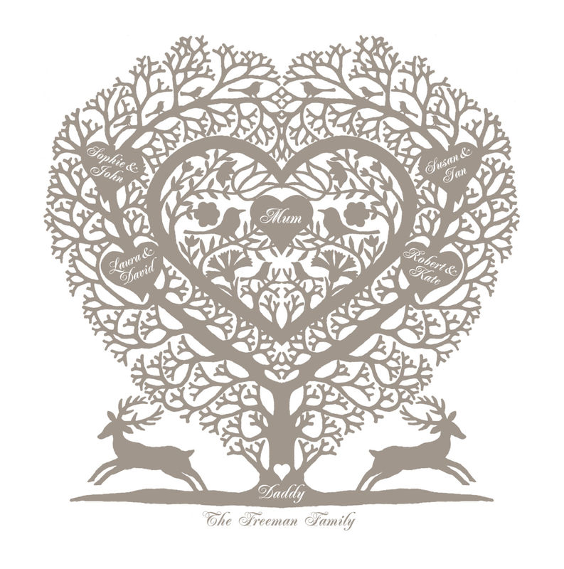 Personalised Family Tree Heart Print - product images  of