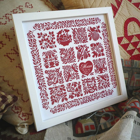 Personalised,Needlework,Lovers,Romantic,Heart,Quilt,Print,Art,Folk_Art,Anniversary,Wedding,Birth_Date,Christening,Love,Gift_for_her,Valentine_for_her,Mother's_Day