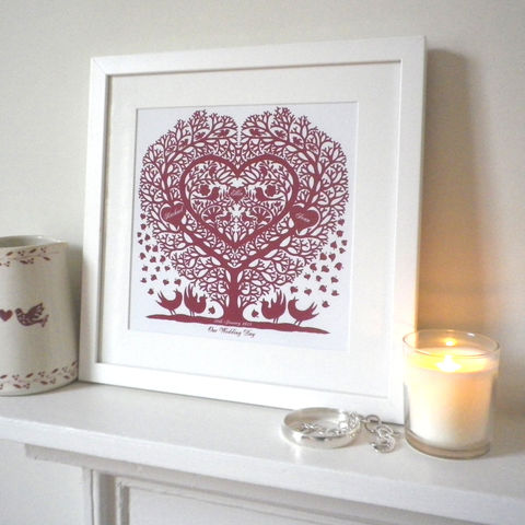 Personalised,Wedding,,Anniversary,Engagement,,Valentine,or,Family,Tree,Treeheart,with,Songbirds,Print,anniversary,engagement,wedding,family tree,heart,folk_art,personalised,romantic,love,papercut,birth_date,songbirds,valentines_for_her,valentine_gift,wedding_gift,gift_for_her,art,print,Giclee