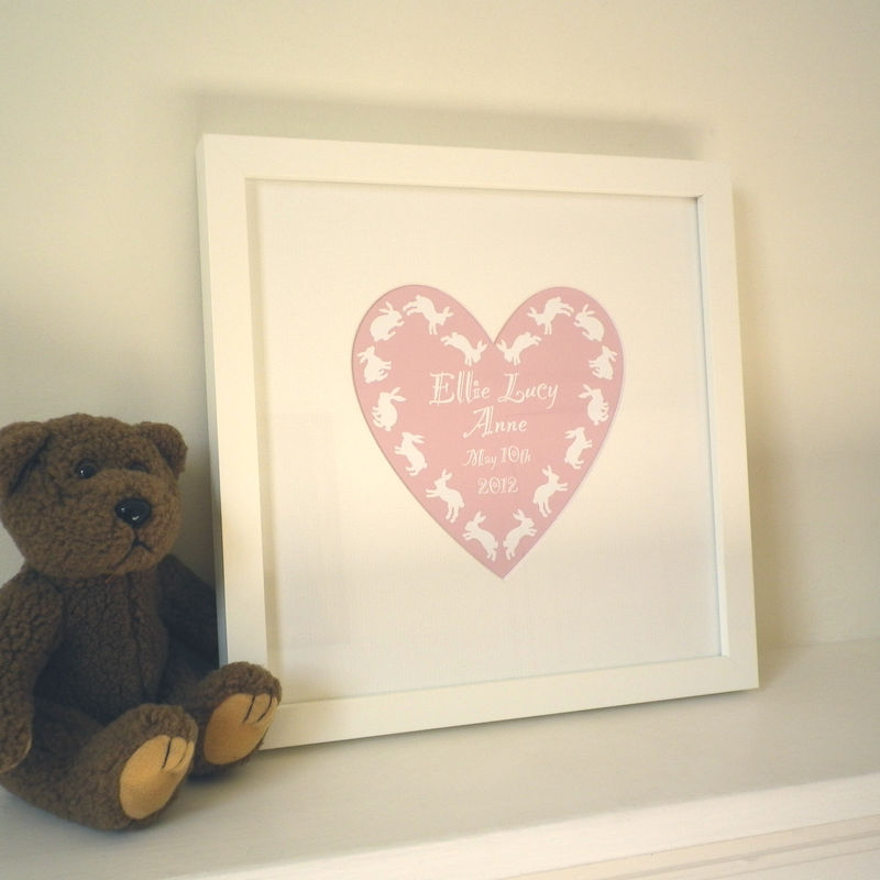 Personalised New Baby's Name Heart Framed Print - product images  of