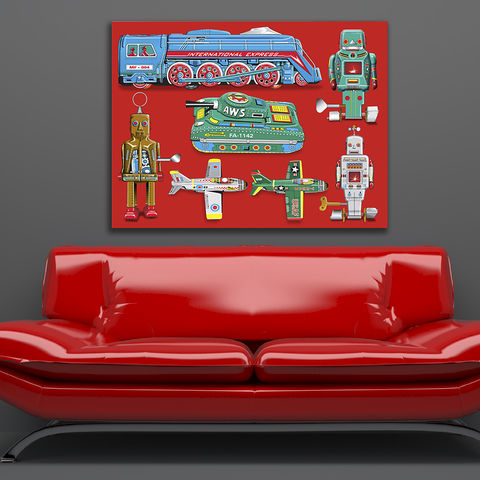 Tin,Toy,Art,Picture,No,2,Canvas,Print,Illustration,Pop,illustration,digital,pop,modern,canvas_art,tin_toy,robot,andy_warhol,peter_blake,boys_room,tin_toy_art,retro,red