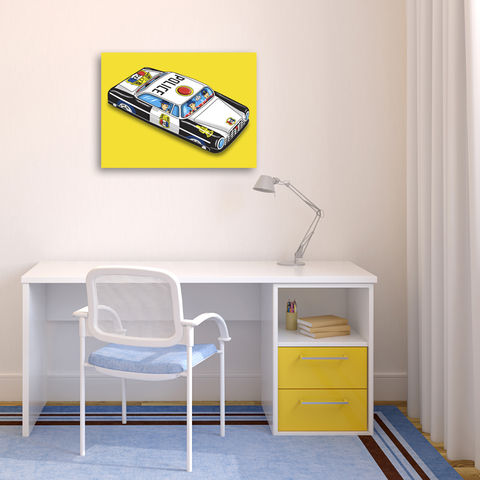 PD,Patrol,Car,Pop,Art,Canvas,Print,Illustration,digital,pop,tin_toy_art,tin_toy,tin_car,police_car,pop_art,andy_warhol,canvas_art,boys_room,illustration,retro,yellow