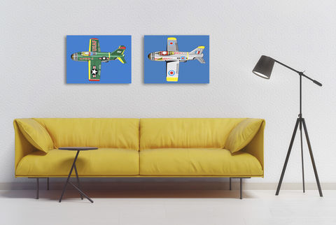 RAF,Jet,Canvas,Print,Art,Illustration,Pop,illustration,digital,canvas_print,pop_art,modern,colourful,boys_room,jet_aeroplane,tin_toys,andy_warhol,peter_blake,primary_colours,retro