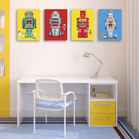 Sparking,Robot,No,3,Canvas,Print,Art,Illustration,Pop,digital,print,canvas_print,robot,tin_toy,modern_art,boys_room,decoration,pop_art,andy_warhol,peter_blake,retro,yellow