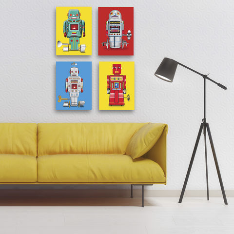 Sparking,Robot,No2,Canvas,Print,Art,Illustration,Pop,print,digital,boys_room,pop_art,decoration,andy_warhol,peter_blake,primary_colours,robot,tin_toy_art,retro,blue,father's_day