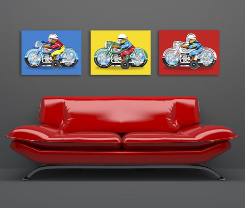 Pop,Art,Japanese,Motorbike,Canvas,Print,Pop Art   Primary Colours   Motorbike  Canvas Print  Gift for a man