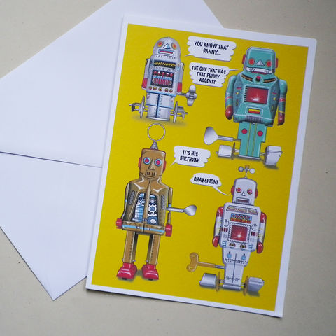 Personalised,Talking,Robots,Card,Personalised Gift Card, Speech Bubble Card, Robots, Pop Art, Tin Toys