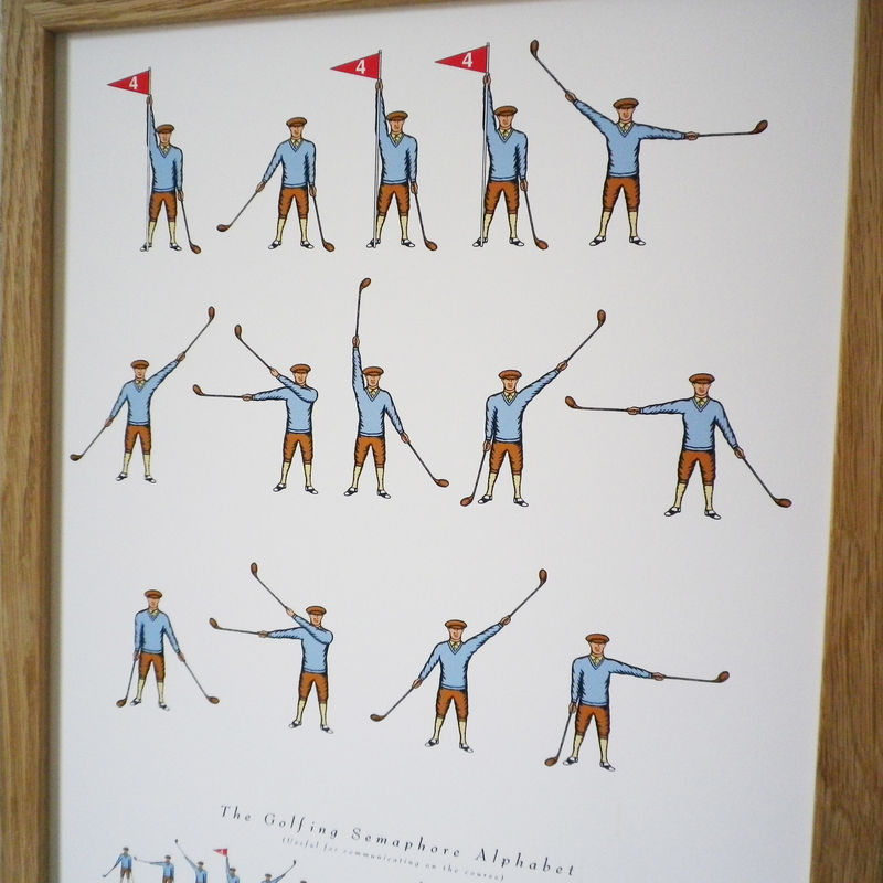 Personalised 'Daddy Loves Golf' Semaphore Print - product images  of