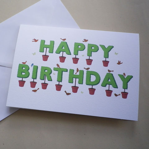 Happy,Birthday,Topiary,Card,Birthday Card,Card for Gardener,Happy Birthday,Summer