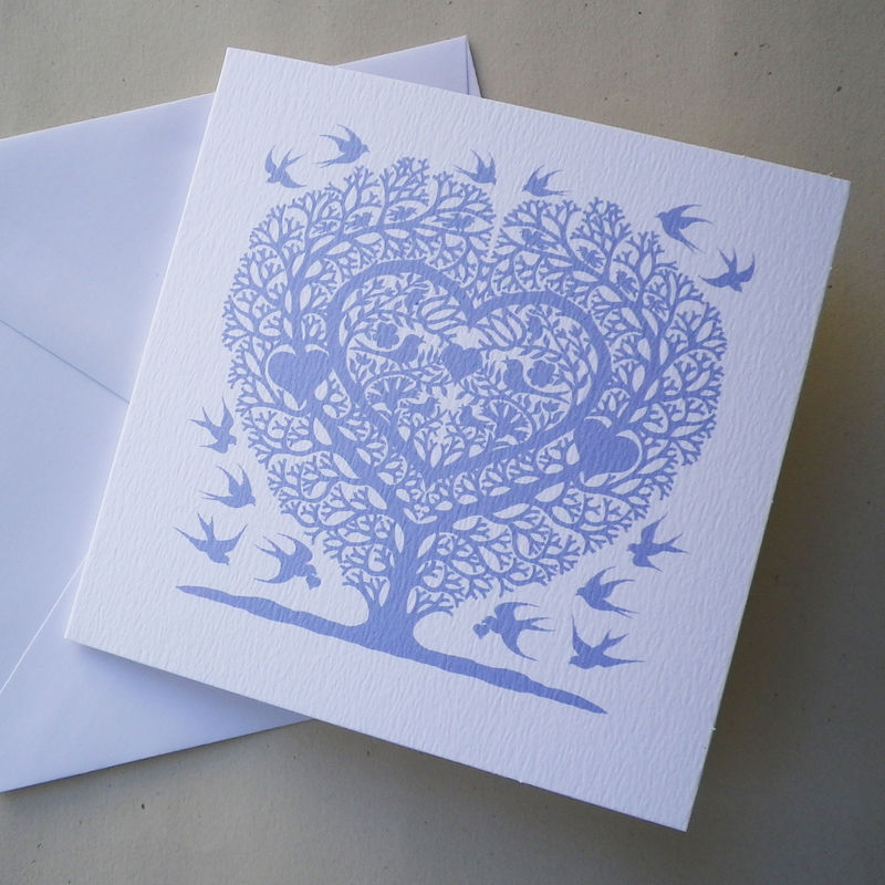 Love Birds Tree Heart Wedding, Anniversary, Engagement or Valentine's Card - product images  of