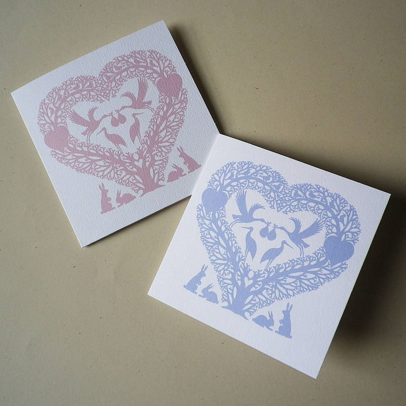 New Baby Stork Heart Card - product images  of
