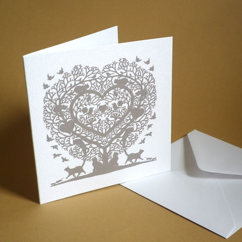Cat,Lovers,Treeheart,Card,Paper_Goods,Cards,Blank,Cat Lover,Wedding, Anniversary, Engagement, Notelets,Folk_Art,Papercuts,Silhouettes,Hearts,Gift_for_her,Cards_Love_Hearts,Romantic,Gift_for_friend