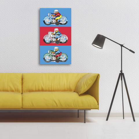 Japanese,Motorbikes,Canvas,Print,Art,Illustration,Pop,digital,canvas_print,tin_toy,motorbikes,boys_room,colourful,decoration,ornament,retro,blue,pop_art,peter_blake,red