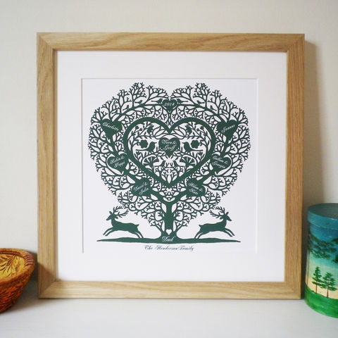 Personalised,Family,Tree,Heart,Print,Art,Giclee,folk_art,country,heart,love_token,wedding,birth_date,papercut,romantic,family_tree,father's_day,anniversary,valentine