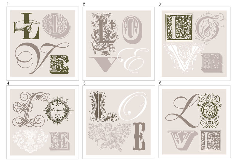 Romantic 'Love' Vintage Style Print Six Designs - product images  of