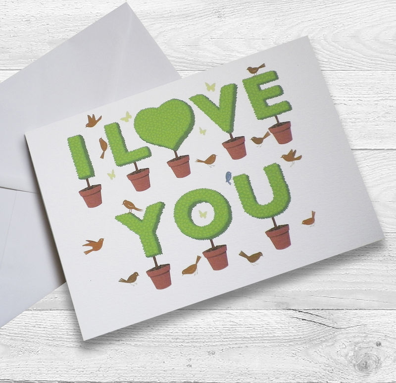"Personalised Lovers Topiary 'I Love You"" Card - product images  of"