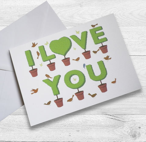 Personalised,Lovers,Topiary,'I,Love,You,Card,Paper_Goods,Cards,I_Love_You,Anniversary_Card,Engagement_Card,Wedding_Card,Valentine's_Card,Birthday_Card,Love_Card,Initials_Card,Gardener,Cottage_Garden,Heart_Card,Personalised_Card
