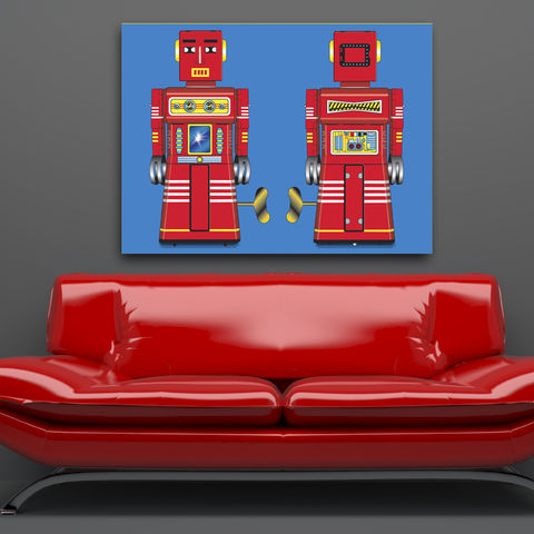 Sparking,Red,Robot,Canvas,Print,Art,Illustration,Pop,pop,print,tin_toys,modern_art,boys_room,decoration,canvas_print,andy_warhol,peter_blake,blue,retro,robots,red