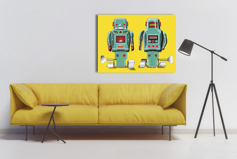Sparking,Green,Robot,Canvas,Print,Art,Illustration,Pop,pop,print,tin_toys,modern_art,boys_room,decoration,canvas_print,andy_warhol,peter_blake,blue,retro,robots,red