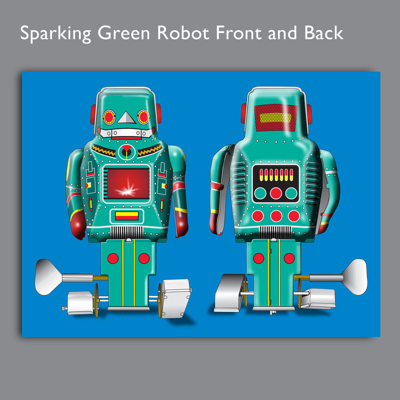 Sparking Green Robot Canvas Print - product images  of
