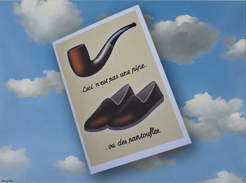 René,Magritte,inspired,Pipe,and,Slippers,retirement,or,birthday,card,Retirement Card, Birthday Card for man, René Magritte, Surrealist, Pipe and Slippers, 60th Birthday, 65th Birthday