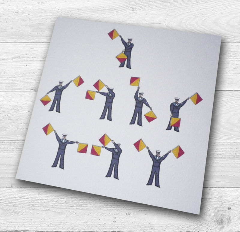 Personalised Semaphore Flags I Love You Birthday Card - product images  of
