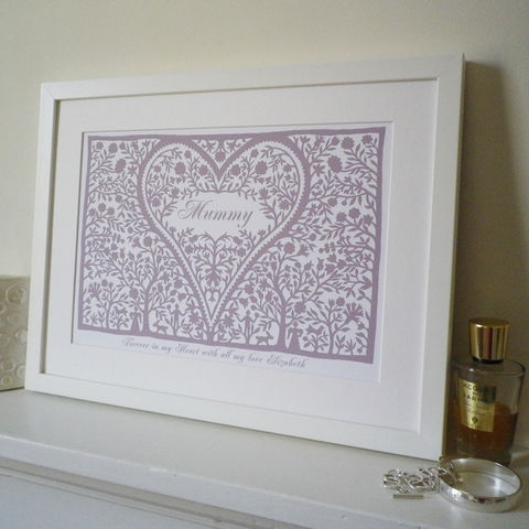 Personalised,Mum's,Love,Heart,Print,Art,Giclee,folk_art,heart,love_token,papercut,mothers_day