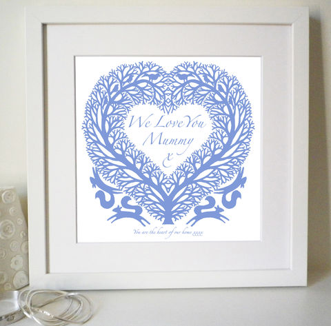 Personalised,I,(or,We),Love,You,Tree,heart,Print,for,mother's,day,,anniversary,or,birthday,gift,Art,Giclee,folk_art,love_heart,love_token,papercut,silhouette,paper_anniversary,wedding,valentine_gift,gifts_for_her,i_love_you,mother's_day