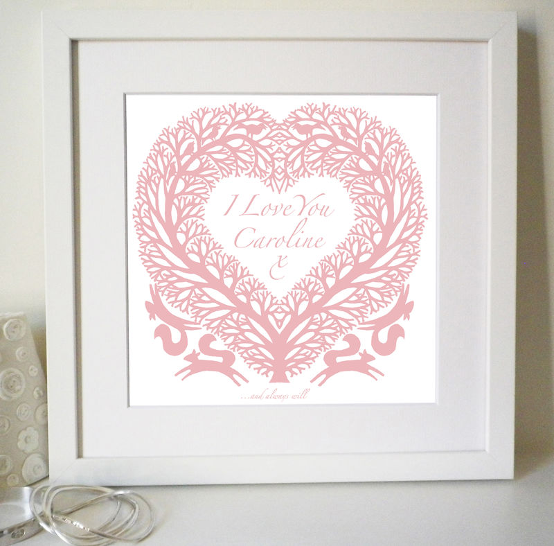 "Personalised ""I (or We) Love You"" Tree heart Print for mother's day,  anniversary or birthday gift - product images  of"