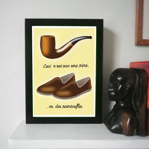 Pipe,And,Slippers,Magritte,Spoof,Print,Art Print, Topiary, Maze, Green, Gift for Special Person, Amazing, Amazing Person