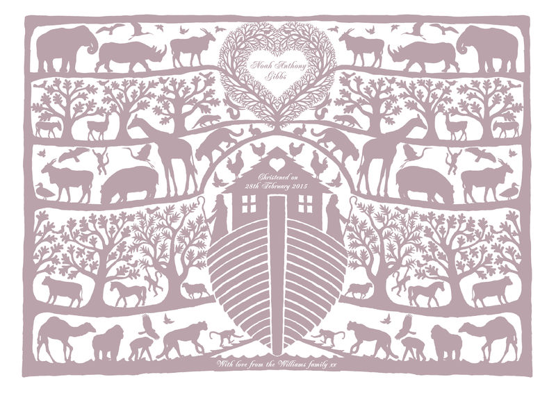 Personalised Christening, Baptism or New Baby Noah's Ark Tree Heart Print - product images  of